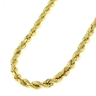 14k Yellow Gold 4mm Solid Rope Diamond-cut Chain Necklace