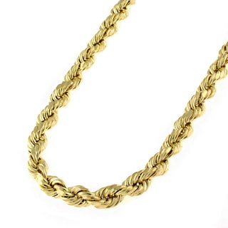 14k Yellow Gold 4.5mm Solid Rope Diamond-cut Chain Necklace