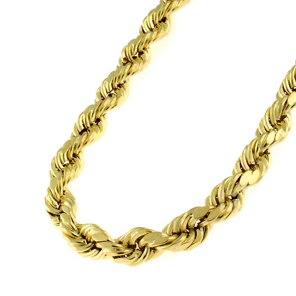 10k Yellow Gold Mens Womens Hollow Rope Diamond Cut Chain Necklace 1.8mm