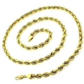 10k Yellow Gold 5mm Hollow Rope Diamond-cut Chain Necklace