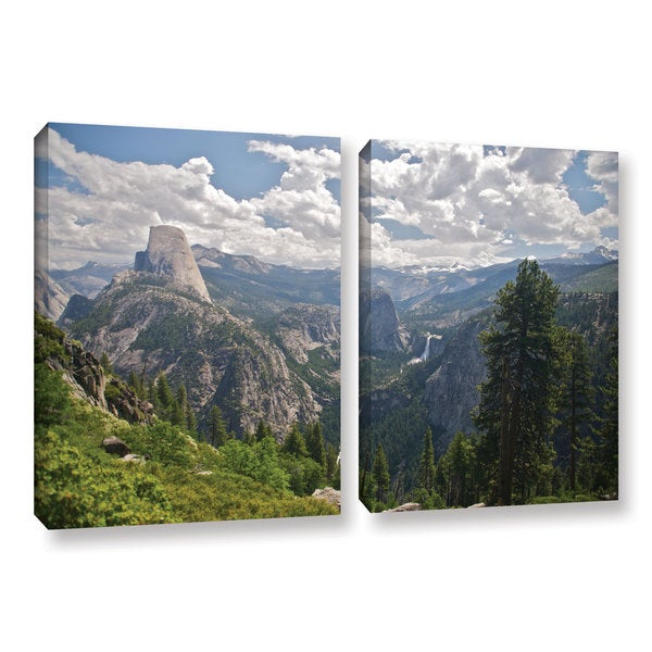 ArtWall 'Dan Wilson's Yosemite-Half Dome' Vernal Falls and Nevada Falls' 2-piece Gallery Wrapped Canvas Set