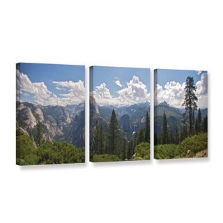 ArtWall 'Dan Wilson's Yosemite-Half Dome and Nevada Falls' 3-piece Gallery Wrapped Canvas Set