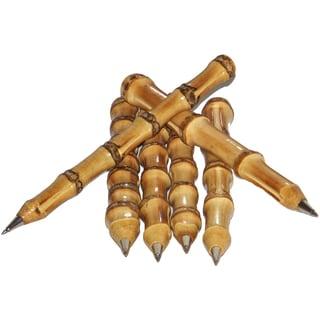Set of 6 Natural Bamboo Pens (Vietnam)