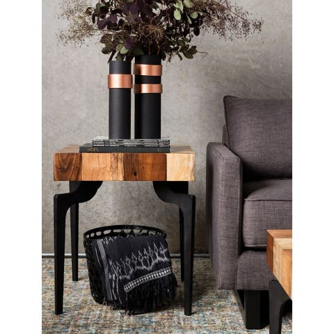 Aurelle Home Gabriel Solid Hand-Crafted Reclaimed Side Table