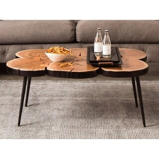 Aurelle Home Truman Live Edge Solid Rustic Coffee Table