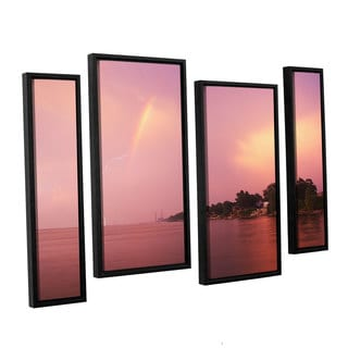 ArtWall 'Dan Wilson's Rainbows and Lightning' 4-piece Floater Framed Canvas Staggered Set