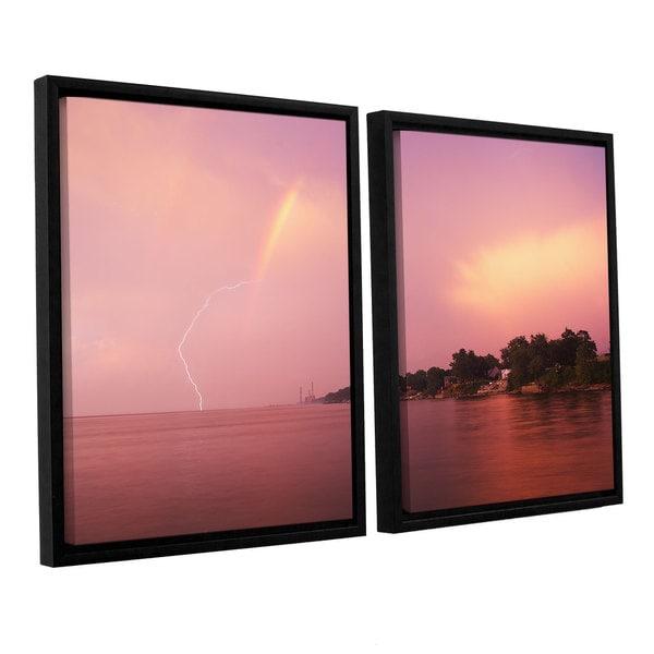 ArtWall 'Dan Wilson's Rainbows and Lightning' 2-piece Floater Framed Canvas Set