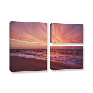 ArtWall 'Dan Wilson's Outer Banks Sunset III' 3-piece Gallery Wrapped Canvas Flag Set