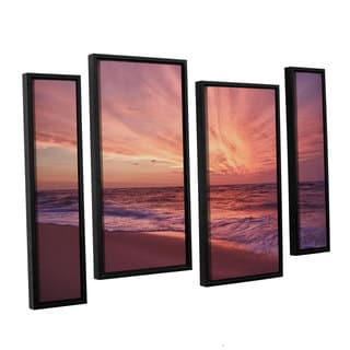 ArtWall 'Dan Wilson's Outer Banks Sunset III' 4-piece Floater Framed Canvas Staggered Set