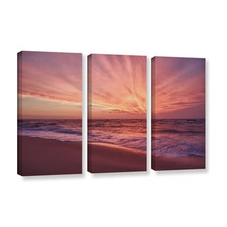 ArtWall 'Dan Wilson's Outer Banks Sunset III' 3-piece Gallery Wrapped Canvas Set