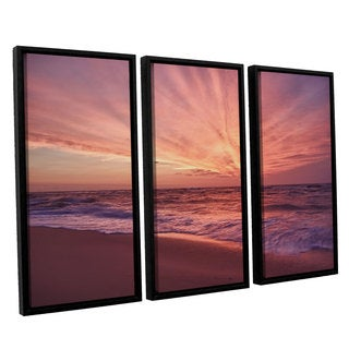 ArtWall 'Dan Wilson's Outer Banks Sunset III' 3-piece Floater Framed Canvas Set