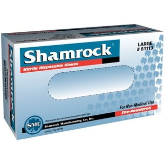 Shamrock Nitrile Disposable Gloves Lightly Powdered Textured Blue (Case of 1000)