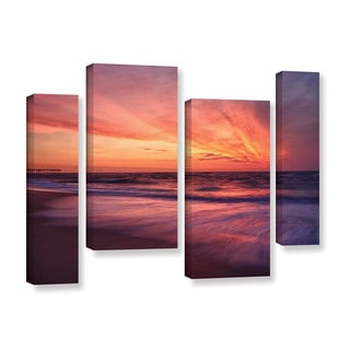 ArtWall 'Dan Wilson's Outer Banks Sunset II' 4-piece Gallery Wrapped Canvas Staggered Set