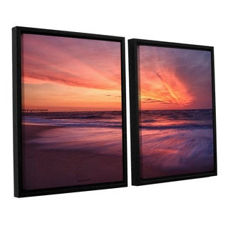 ArtWall 'Dan Wilson's Outer Banks Sunset II' 2-piece Floater Framed Canvas Set