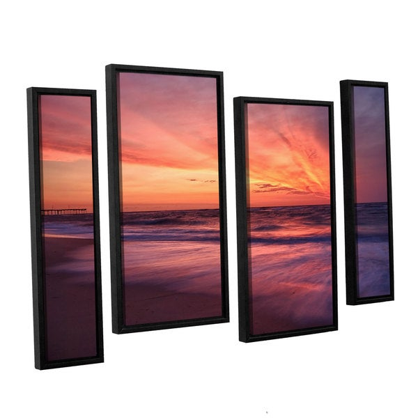 ArtWall 'Dan Wilson's Outer Banks Sunset II' 4-piece Floater Framed Canvas Staggered Set