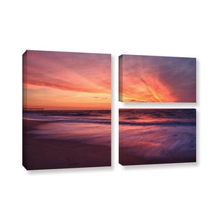ArtWall 'Dan Wilson's Outer Banks Sunset II' 3-piece Gallery Wrapped Canvas Flag Set