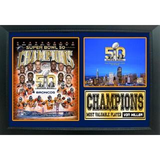 Super Bowl 50 Champions Denver Broncos 12 x 18 Photo Stat Frame