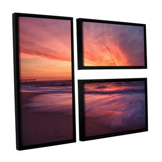 ArtWall 'Dan Wilson's Outer Banks Sunset II' 3-piece Floater Framed Canvas Flag Set