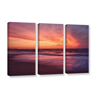 ArtWall 'Dan Wilson's Outer Banks Sunset II' 3-piece Gallery Wrapped Canvas Set