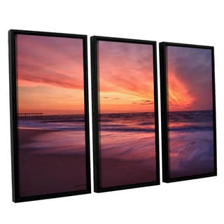 ArtWall 'Dan Wilson's Outer Banks Sunset II' 3-piece Floater Framed Canvas Set