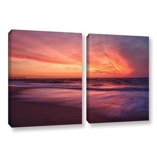 ArtWall 'Dan Wilson's Outer Banks Sunset II' 2-piece Gallery Wrapped Canvas Set