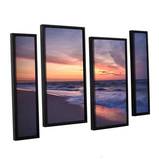 ArtWall 'Dan Wilson's Outer Banks Sunset I' 4-piece Floater Framed Canvas Staggered Set