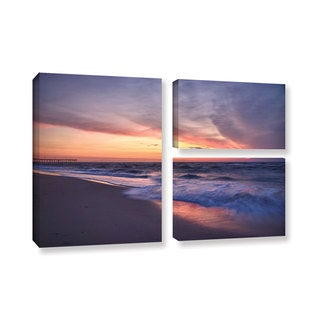 ArtWall 'Dan Wilson's Outer Banks Sunset I' 3-piece Gallery Wrapped Canvas Flag Set