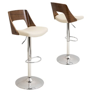 Valencia Mid-Century Modern Adjustable Bar Stool with Faux Leather and Walnut Wood