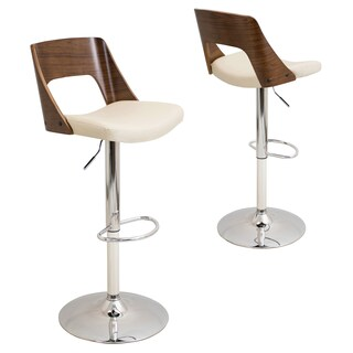 Carson Carrington Visby Mid-Century Modern Walnut Wood/ Faux Leather Adjustable Bar Stool (Option: Cream)