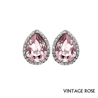 Isla Simone - Rhodium Plated Tear Drop Earring Austrian Crystal