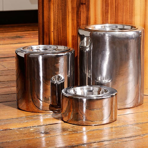 Unleashed Life High-Rise Collection Polished Nickel Pet Bowls