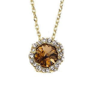 Isla Simone - Gold Plated Shell Pendant with Austrian Crystal