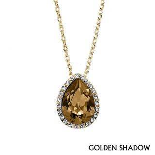 Isla Simone - Gold Plated Tear Drop Pendant with Austrian Crystal