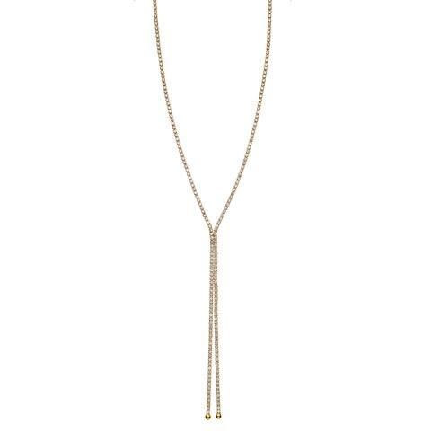 Isla Simone Goldplated or Rhodium-Plated Crystal Single Row x Shape Necklace