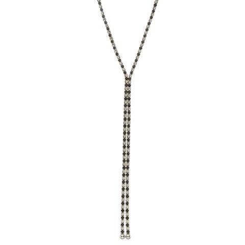 Isla Simone - Rhodium Plated Single Row X-Shape Necklace in Color Crystal