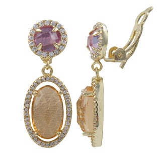 Luxiro Gold Finish Cubic Zirconia Glass Oval Halo Dangle Earrings
