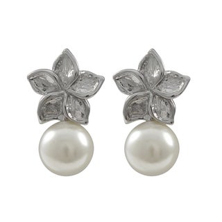 Luxiro Rhodium Finish Faux Pearl Floral Earrings