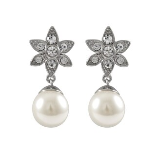 Luxiro Rhodium Finish Faux Pearl and Crystals Floral Earrings