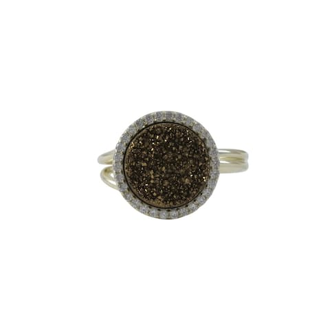Luxiro Gold Finish Sterling Silver Druzy Quartz Cubic Zirconia Adjustable Ring - Yellow