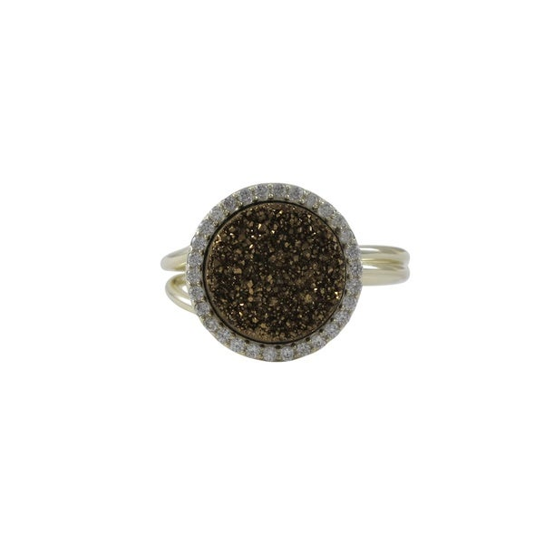 Luxiro Gold Finish Sterling Silver Druzy Quartz Cubic Zirconia Adjustable Ring - Yellow. Opens flyout.