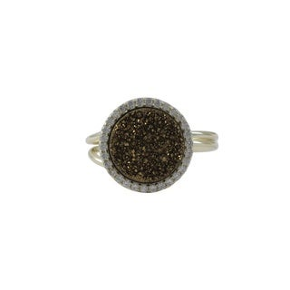 Luxiro Gold Finish Sterling Silver Druzy Quartz Cubic Zirconia Adjustable Ring