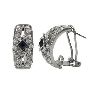 Luxiro Rhodium Finish Blue and White Crystals Saddleback Earrings
