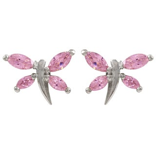 Luxiro Sterling Silver Pink Cubic Zirconia Dragonfly Girls Stud Earrings