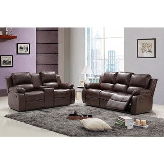 Madison Faux Leather Reclining Sofa and Loveseat Set with Tea Table and Center Console