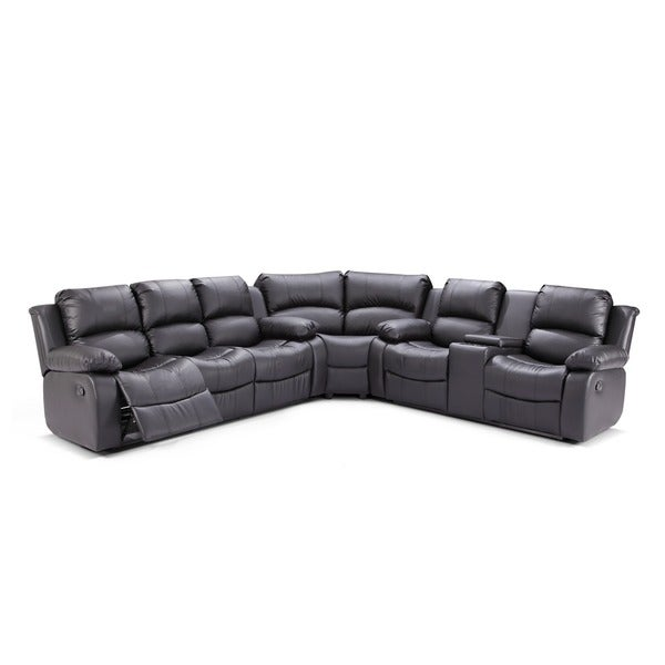 Madison Bonded Leather Reclining Sectional Sofa Set with Drop Down