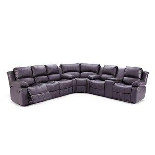 Madison Bonded Leather Reclining Sectional Sofa Set with Drop-Down Table Center Storage Console  sc 1 st  Overstock.com : cheap reclining sectionals - Sectionals, Sofas & Couches