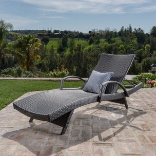 Toscana Outdoor Wicker Armed Chaise Lounge Chair by Christopher Knight Home