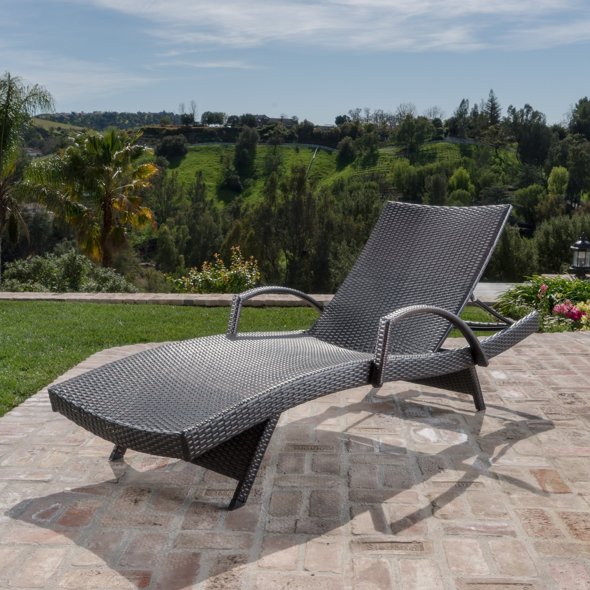 - Shop Toscana Outdoor Wicker Armed Chaise Lounge Chair By