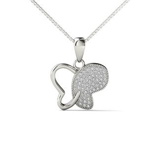 10k White Gold 1/5ct TDW Diamond Butterfly Pendant Necklace