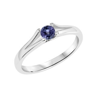 Sterling Silver Round Tanzanite Gemstone Split Shank Ring